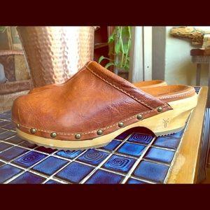 Frye Cognac Leather Clog Mules